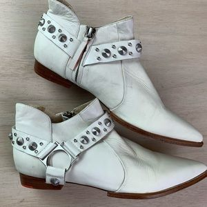 Joe's Jeans low cut studded white leather booties